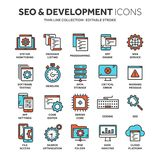 Seo and app development. Search engine optimization. Internet, e-commerce.Thin line blue web icon set. Outline icons. Collection. Vector illustration Stock Images
