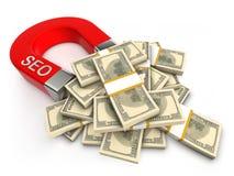 SEO atrai o dinheiro Fotos de Stock Royalty Free