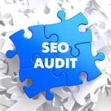 SEO Audit on Blue Puzzle. Stock Photography