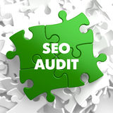 SEO Audit on Green Puzzle. Stock Photos