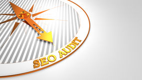 Seo Audit on White Golden Compass. Royalty Free Stock Images