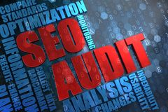 SEO Audit -  Wordcloud Concept. Stock Photos
