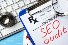 SEO audit. Words SEO audit on a prescription form stock images