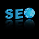 Seo background. Illustration of 3D SEO word with blue globe, isolated on black background.EPS file available Stock Images