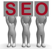 SEO Banners Mean Optimized Web Search And Stock Images