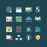 SEO & bazy danych ikony set Zdjęcia Stock
