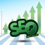SEO bearbetar diagram med den gröna pilen upp Royaltyfria Bilder