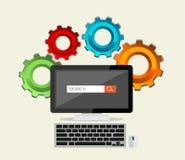 SEO-begrepp, sökandemotor, sökandeprocess Fotografering för Bildbyråer