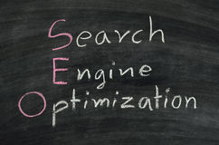 SEO on blackboard Stock Photo