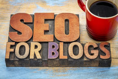 SEO for blogs in wood type Royalty Free Stock Photography