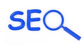 Seo- brieventeken met meer magnifier Stock Fotografie
