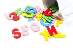 SEO-Buchstaben Stockbild