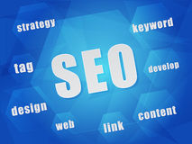 SEO and business concept words in hexagons Stock Photos