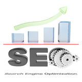 SEO business graph. SEO chart with green arrow going up Royalty Free Stock Image