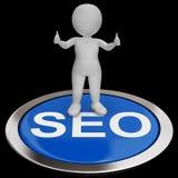 SEO Button Shows Internet Marketing och optimering stock illustrationer