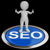 SEO Button Shows Internet Marketing And Optimizing Royalty Free Stock Photo