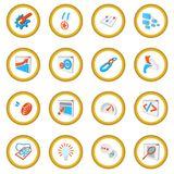 Seo 16 cartoon icon circle. Cartoon isolated vector illustration Royalty Free Stock Photography
