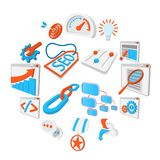 Seo 16 cartoon icons set. Blue and orange symbols on a white background royalty free illustration