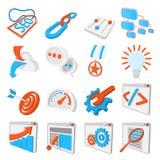 Seo 16 cartoon icons set. Blue and orange symbols on a white background Stock Illustration