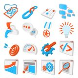 Seo 16 cartoon icons set. Blue and orange symbols on a white background vector illustration