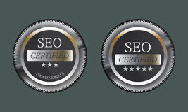 SEO Certified Emblem Icon Button Badge Logo Design Stock Photo