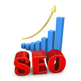 SEO CHART. Red text SEO with blue chart and golden arrow Stock Photos