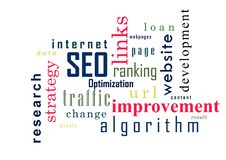 SEO Colagem da ilustração do vetor das palavras Imagens de Stock
