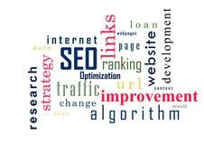 SEO Collage van woorden Vectorillustratie Stock Illustratie