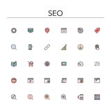 SEO Colored Line Icons. SEO and development colored line icons set. Vector illustration Stock Photo