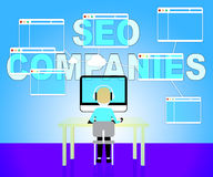 Seo Companies Means Search Engines And Businesses Royalty Free Stock Image