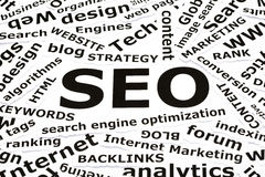 SEO Concept. With other related words printed on paper Royalty Free Stock Photos
