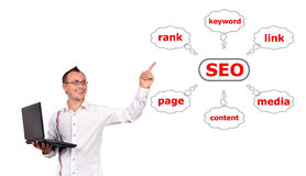 Seo concept. Man with a laptop in hand points to seo Royalty Free Stock Image