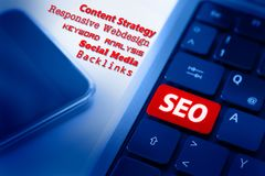 SEO Concept in Blue royalty free stock photos