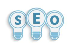 Seo concept with bulb and gears Royalty Free Stock Photography