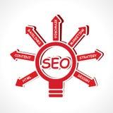 SEO concept. With bulb-vector illustration Stock Photos