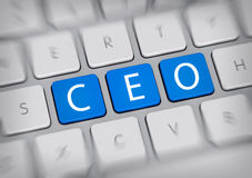 SEO concept for a Chief Executive Officer. With the letters - CEO - on three blue keys or IT buttons on a white computer keyboard viewed high angle with blur Royalty Free Stock Images