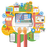 Seo concept computer poster Stock Photography
