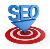 Seo Concept con l'obiettivo Immagini Stock