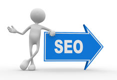 SEO concept. 3d people - men, person and arrow. SEO concept Stock Photography