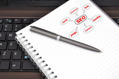 Seo concept in diary Stock Photos