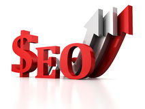 Seo concept with dollar sign and growing arrow Royalty Free Stock Images