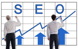 Seo concept drawn by businessmen Stock Photos