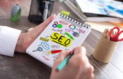 Seo concept on a notepad. Seo concept drawn on a notepad royalty free stock photo