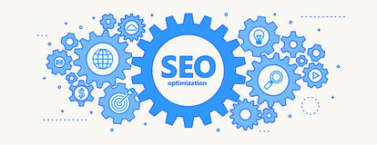 Seo concept with gears thin line design. Vector illustration of seo concept with gears thin line design Royalty Free Stock Photo