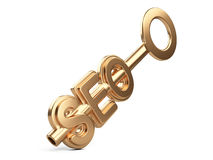 Seo concept with gold key Royalty Free Stock Images