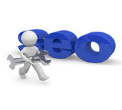 SEO concept image, 3d rendering. Small character with a wrench and the word SEO, 3d rendering Stock Photo