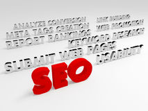 SEO concept, Internet technology. 3D words. Stock Photography