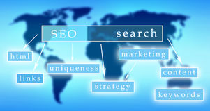 SEO. Concept with keywords on world map Stock Photo