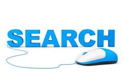 SEO Concept. Muestra de la búsqueda y ratón del ordenador Imágenes de archivo libres de regalías
