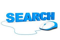SEO Concept. Muestra de la búsqueda y ratón del ordenador Fotos de archivo libres de regalías